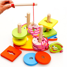 Baby wooden Blocks toys Magnetic fishing game Four sets columns geometry Building blocks Children classic wood model kits block 2 in 1 magnetic fishing game geometric building blocks kids wooden toys baby fishing game five sets of pillars toys for childre
