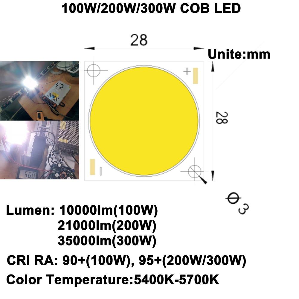 DIY LED U-HOME High CRI 90+/95+ Ultra Brightness 100W/200W/300W COB LED Daylight White 5600K for DIY Flashlight/DIY Projector