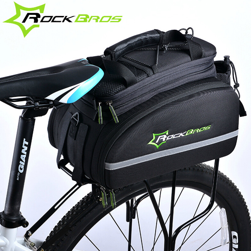 Rockbros 12L Mountain Bike Bag 3 In 1 Rear Rack Shoulder Sotrage Carrier Bags Handbag MTB Bicycle Trunk Cycling Saddle Bag roswheel 50l bicycle waterproof bag retro canvas bike carrier bag cycling double side rear rack tail seat trunk pannier two bags
