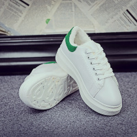 ARANSUE Korean style women Vulcanized shoes winter white shoe 4.5 heels thick bottom Cotton padded shoes lace up casual Zapato