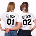 Best friend BITCH01 02 print women tshirt	 large size loose cotton camisetas mujer black white casual t shirt femme S-2XL