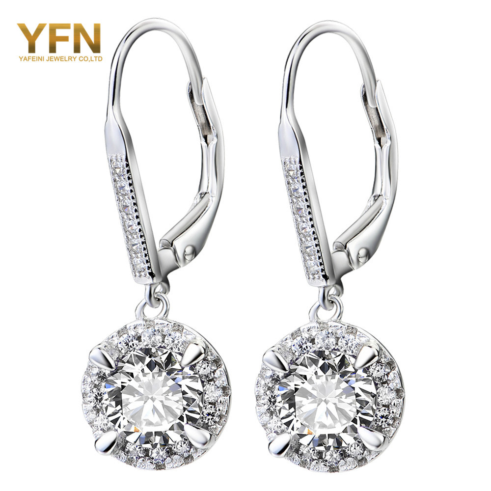 GNE0961 B Genuine 925 Sterling Silver Crystal Drop Earrings Fashion Jewelry White Cubic Zirconia Earrings For