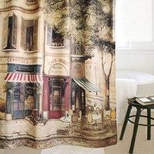 Bad Duschvorhang 183×183 cm Polyester Mode Erinnerte Wasserdichte Kaffee Haus Bad Dusche Vorhänge 1 STÜCK kostenloser versand