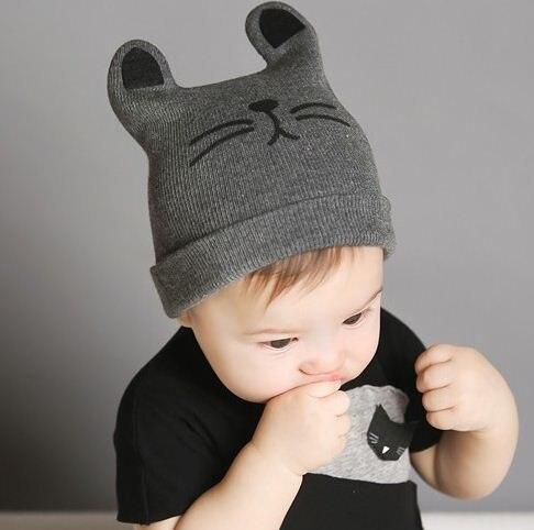 013a510230d Cat Ear Baby Hats Newborn Cartoon Knitted Cap Toddler Kids Boys Girls  Beanie Cap Infant Autumn Winter Warm Hat