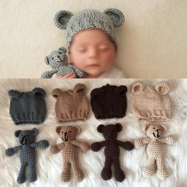Jogo bonito do Urso de Crochê e Chapéu Set Handmade Newborn Fotografia Prop Foto Fotografia Estúdio Adereços Cabine Presente Do Chuveiro de Bebê