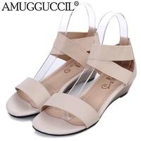 Großhandel! Echtes Leder Plus Große Größe 33-42 Schwarz Beige Mode Komfortable Dame Weibliche Frauen Sommer Keil Schuhe sandalen L228