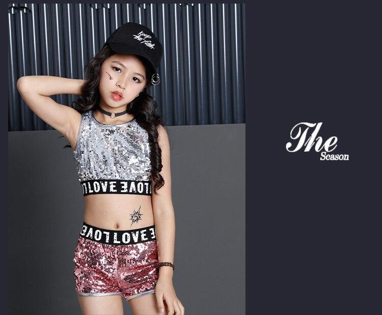 Детский Джазовый современный танцевальный костюм детская одежда в стиле хип-хоп Уличная одежда, куртка в стиле хип-хоп с блестками, футболка Платья для девочек в стиле джаз