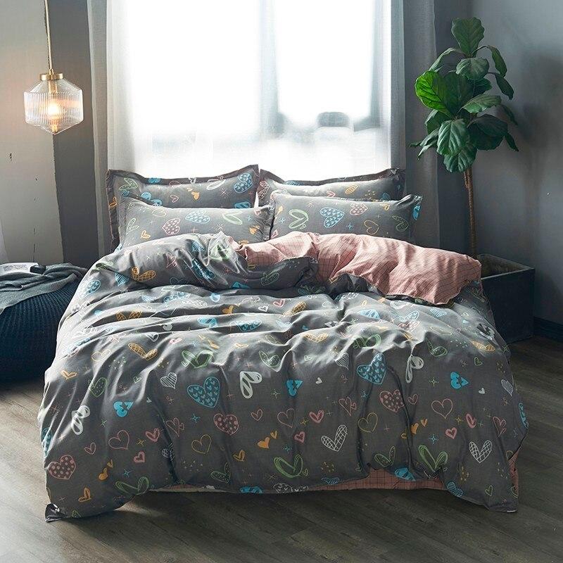USA Russian Cartoon Kids Bedding Sets Children Toddler Heart Duvet Cover Pillowcase Set 2/3pcs Women Bedclothes Home Textiles