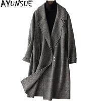 AYUNSUE осень Зимняя одежда новый двухсторонний Шерстяное пальто женские весна Англия Стиль плед Длинные куртки для Для женщин 88311 WYQ1487