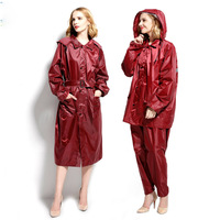 Fashion Women Men Raincoat Poncho Waterproof Trench Coat Rain Coat With Pants Set Outdoor Split Rain Suit Chubasqueros Mujer