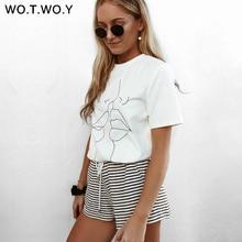Women's Summer 'Tumbler Lips' Print T-Shirt