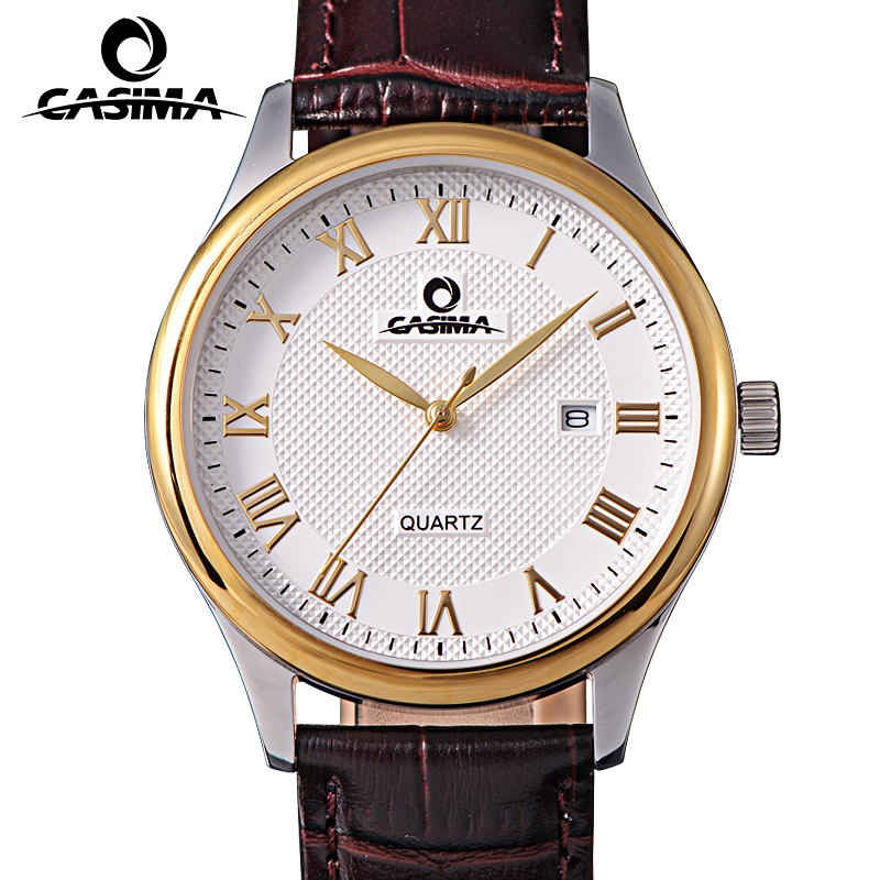 Relogio Masculino CASIMA Gold Quartz Watch Men Top Brand Luxury Business Calendar Wrist Watch Mens Dress Clock Saat Montre Homme montre homme casima sport watch men waterproof silicone band week date quartz wrist watch dual time clock saat relogio masculino