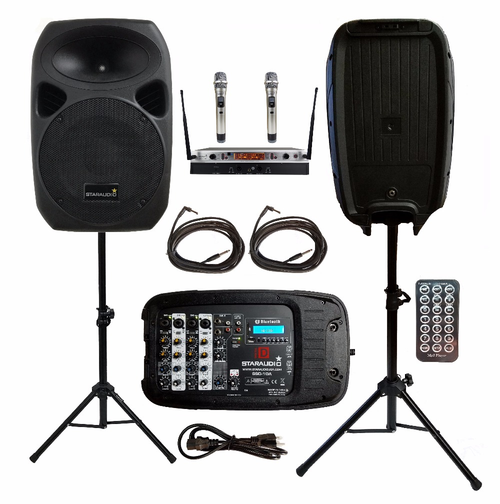 2 STARAUDIO 1500W 10PA DJ KTV Stage Passive BT SD USB Speakers W/2CH UHF Wireless Mics 2 Stands 1 Powered Mixer Cables SSD-10A