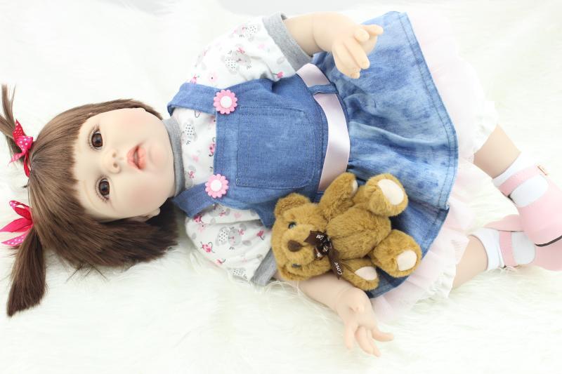 22inch 55cm silicone baby-reborn dolls lifelike girl real gentle touch boneca alive bebe