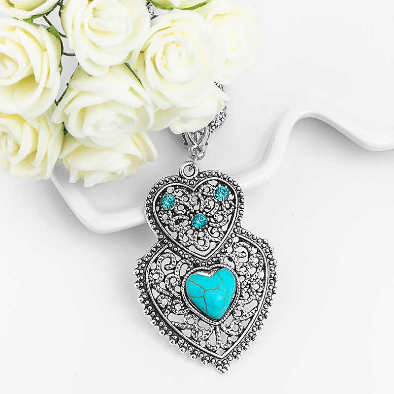 SHUANGR High Quality Double Heart Pendant with Rope Chain Blue Crystal Natural Stone Bohemian Love Necklace Jewelry for Women