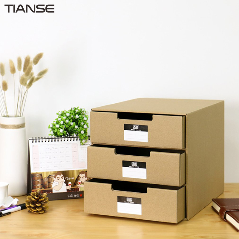 TIANSE TS-1503 Multi-Layers Kraft Paper Files Documents Cabinet DIY Home Office Organizer Documents Container Box