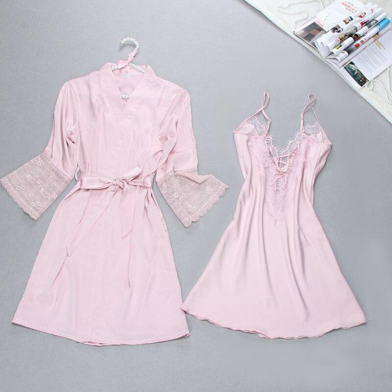 Image 2 - Sexy Summer Womens Robe Bath Gown Sleepwear Casual Ladies Home Wear Nightwear-in Robe & Gown Sets from Underwear & Sleepwears