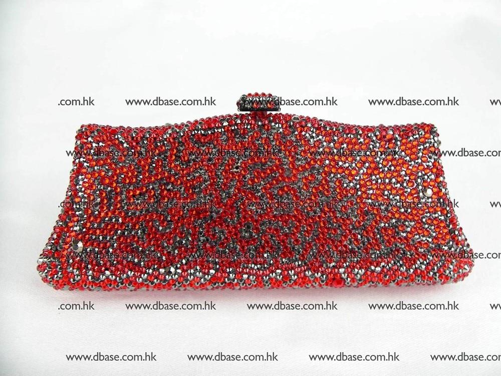 ФОТО L7788Z Crystal Hematite grey / Red Bridal Party Night Lady fashion Metal Evening purse clutch bag handbag box