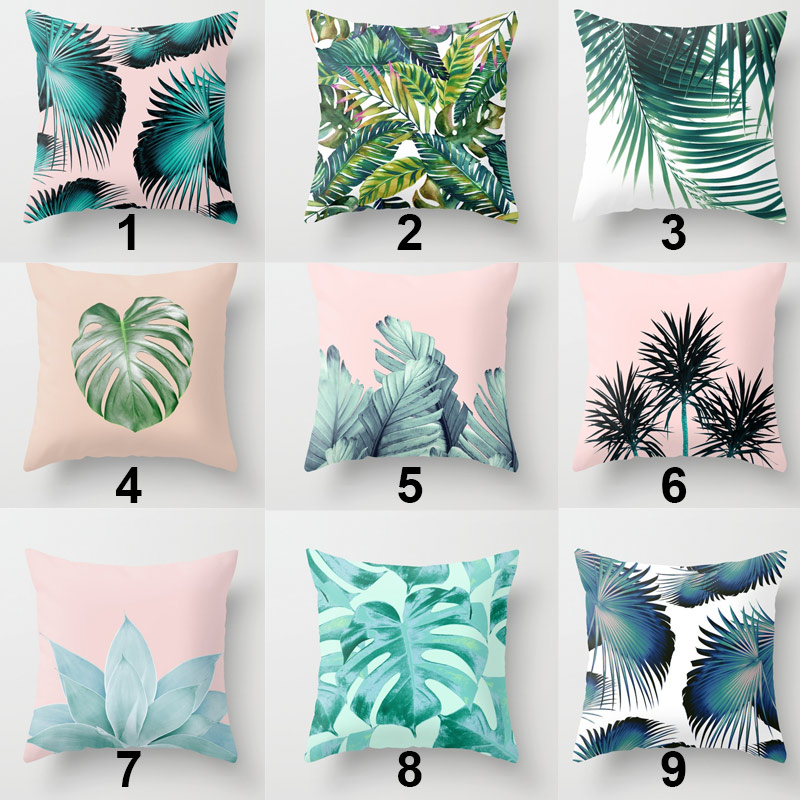 Home Decoration Pillowcase Throw Pillow Case Plants Leaves Cushion Cover for Couch Sofa Bed J2Y