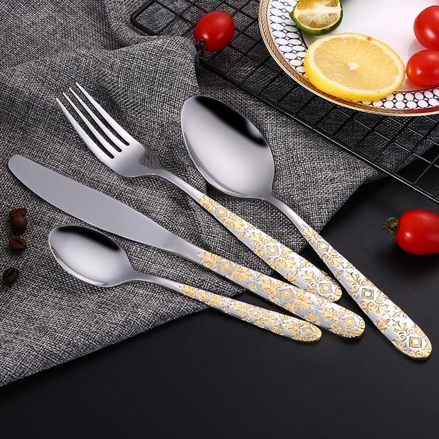 24pcs/ Stainless Steel Gold Plated Cutlery Set Dinnerware Tableware Silverware Dinner Fork Knife Drop Shipping & 24pcs/ Stainless Steel Gold Plated Cutlery Set Dinnerware Tableware ...