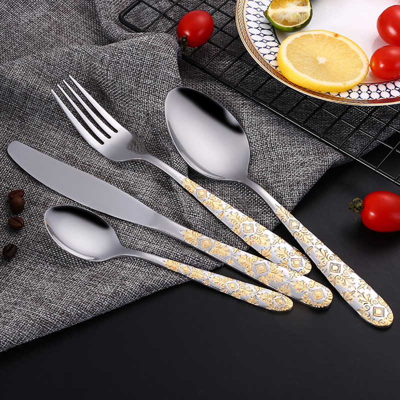 24pcs/ Stainless Steel Gold Plated Cutlery Set <font><b>Dinnerware</b></font> Tableware Silverware Dinner Fork Knife Drop Shipping