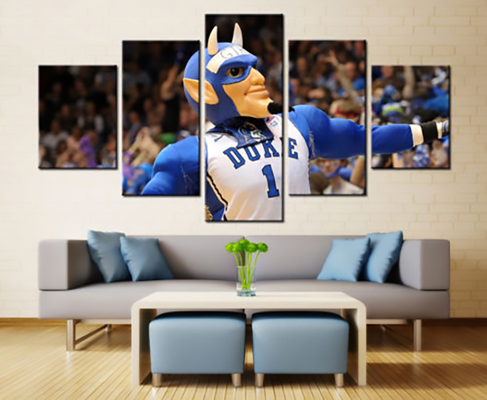 Canvas Wall Art 5 pcs Canvas Duke Blue Devil Mascot HD Print Basketball Wall Art Home
