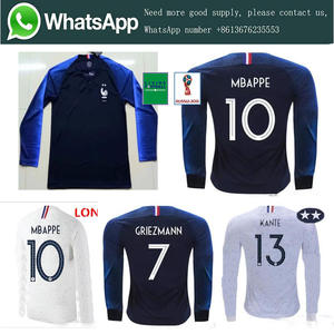2da07c9767e 2018 Frenches 2 stars World Cup patch Adult Long sleeve MBAPPE GRIEZMANN Soccer  Jerseys 18 19 football Clothes Free shipping