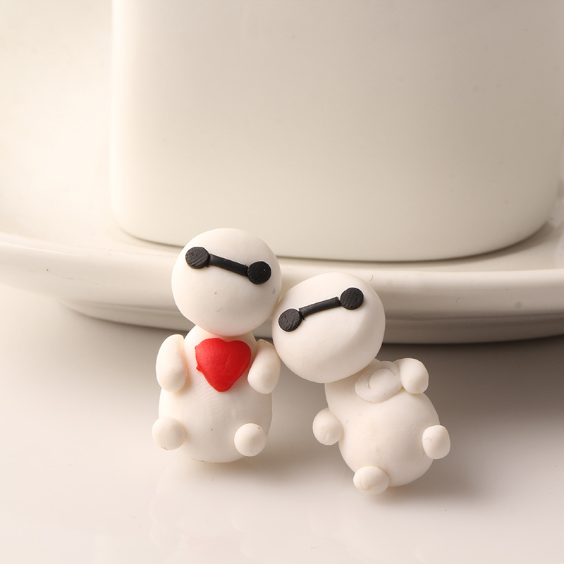 2016 New Arrival Fashion Polymer Clay Women Stud Earrings Loving Heart White Cute Big Hero Shape Gift Earring Gril Jewelry E1936