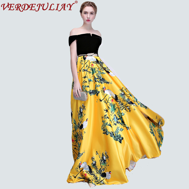 710219094a2a0 Chinese Style Dresses Women Summer 2019 Runway Fashion Flowers Print  European Slash Neck Plus Size Long Yellow Dress