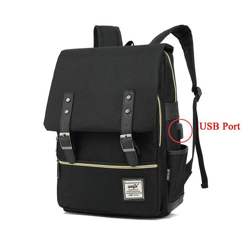 100pcs/lot Vintage Laptop Backpack With USB Charging Port School College Bag Rucksack Oxford Laptop Fashion Man Travel Backpacks
