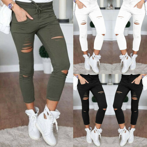 HOT SALE 2019 New Fashion Women Skinny Ripped Holes Jeans Pants High Waist Solid Stretch Slim Pencil Trousers S-2XL