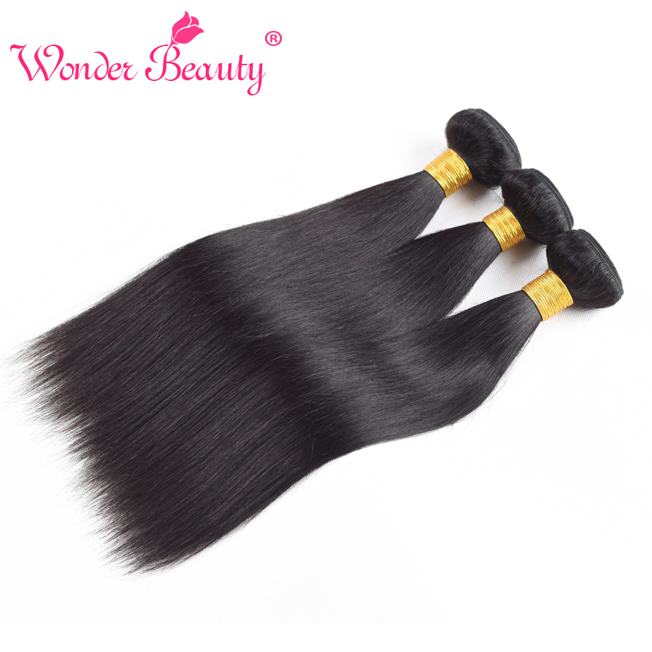 Peruvian Virgin Hair 3Pieces Straight Human Hair Weaves Wonder Beauty Natural Black Unprocessed Straight Hair Bundles 8-30 inch