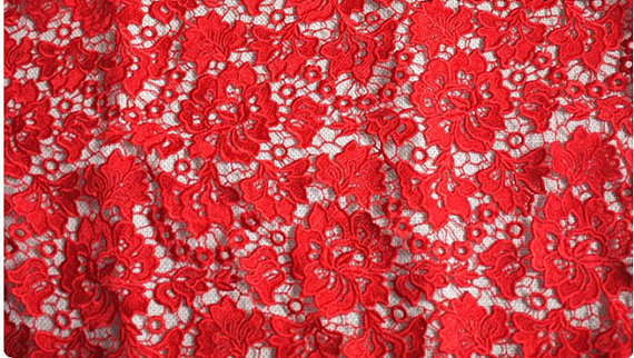 Red Lace Fabric Crocheted Lace Fabric Retro Floral Lace On Sale 5yards