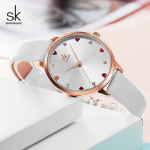 Shengke Women Watches Top Brand Luxury Quartz Ladies Heart Dial Leather Wrist Watch Relogio Feminino 2019 SK Women Watches K8049 shengke women watches luxury brand wristwatch leather women watch fashion ladies quartz clock relogio feminino new sk