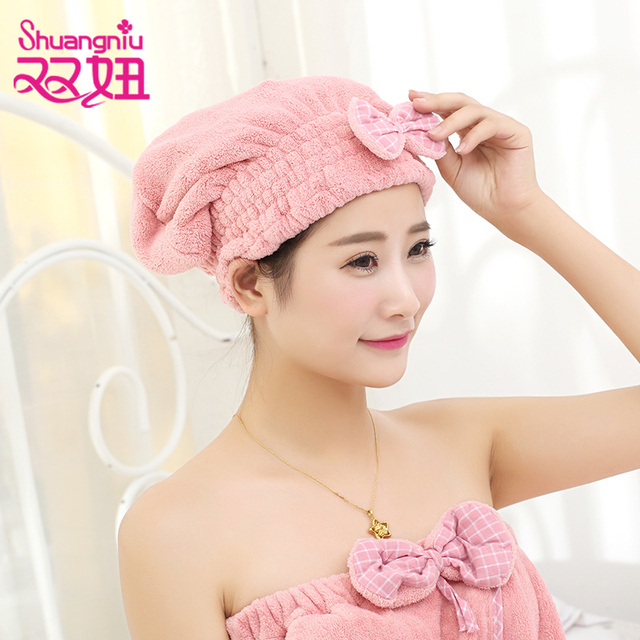 Lovely Princess Style Home Textile Hair Drying Towel Womens And Children Quick Dry Short Hat