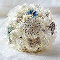 Bouquets De Casamento Para Noivas Strass Jóia de Cristal de alta Qualidade Rosas De Seda Feitos À Mão Broche De Flores Do Casamento Buquês de Noiva