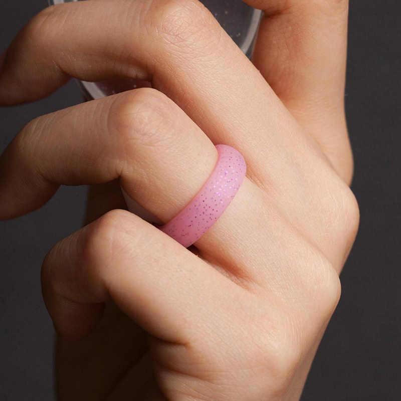 Распродажа, 4, 5, 6, 7, 8, 9, 10 Размер, 5,7 мм, Кристальный порошок, силиконовое женское кольцо для женщин, девушек, офиса, Мужчин, Ювелирные изделия на палец