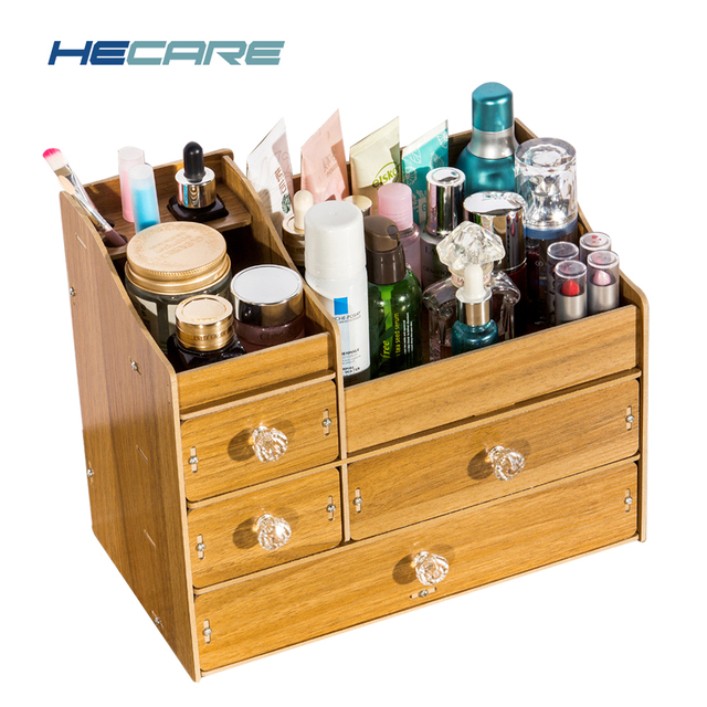 HECARE Wooden Storage Container Box Modern Sundries Organizer for