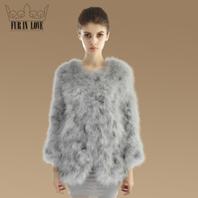 2016 New Fashion Real Turkey Fur Coat For Women Nature Turkey Fur Jacket 100% Genuine Fur Outwear