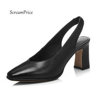 Women Genuine Leather Slip On Thick High heel Pumps Fashion Square Toe Shallow Party Spring Autumn Shoes Black Apricot Gray