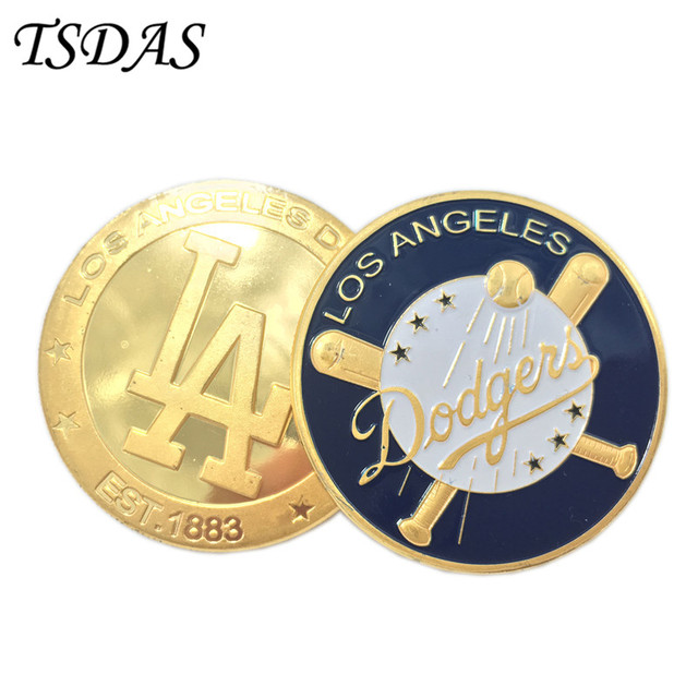 US $3 6 |24k Gold Plated Souvenir Coin Los Angeles Dodgers Custom Challenge  Coins Uncirculated Custom Metal Football Coins-in Non-currency Coins from