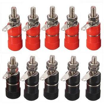 10 Uds enchufe niquelado tuerca de poste de unión enchufe para altavoz Terminal vinculante para conector hembra de enchufe de Banana de 4mm