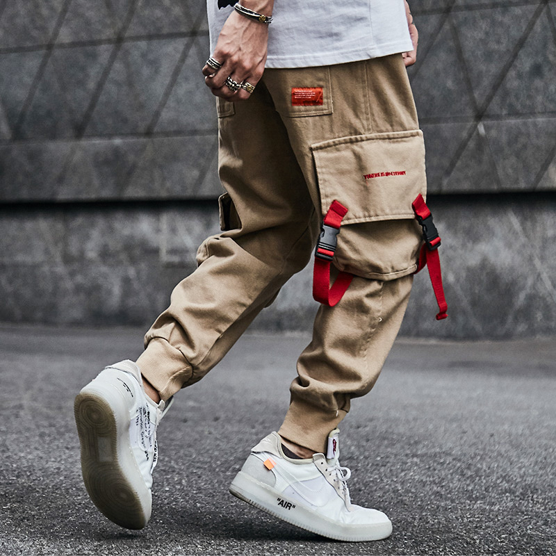 Big Size M-5XL Fashion Men Jeans Casual Jogger Pants Solid Color Big Pocket Cargo Pants Japanese Style Hip Hop Tapered Pants Men