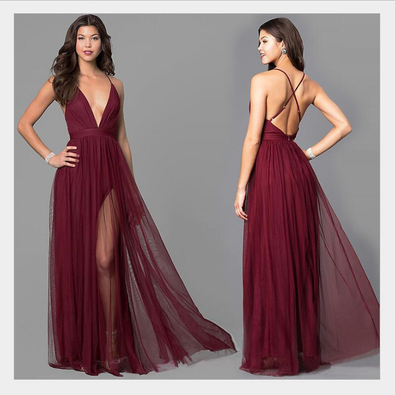 Sexy Burgundy Bridesmaid Dresses A Line Deep V Neck Spaghetti Straps Cross Back Long Formal Party Gowns With Split Vestidos 2019(China)
