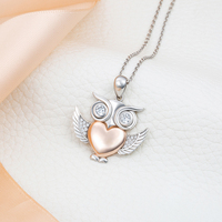 2018 new arrival owl 925 Sterling Silver with Rose Gold Color Love Heart Pendants & Necklaces For Women Fashion Jewelry Gift
