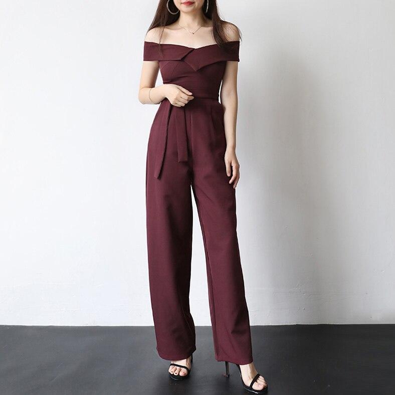 2018 new arrival Long Jumpsuit Wide Leg Belted Off shoulder Women Elegant Party Rompers