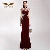 CONIEFOX 32220 red lcae Sexy Bead Fashion mermaid prom dresses host slim party evening dress gown vestido longo de festa 2017