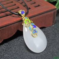 Certificate Beautiful Chinese Handwork Natural White Jade Carved Droplet shape Amulet Lucky Pendant Necklace Fashion gift box
