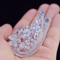 Women Fashion Brooches Pearl Cut Zircon Flower Brooch Pin AAA Cubic Zirconia Jewelry Breastpin for Evening Party Dress Accessory