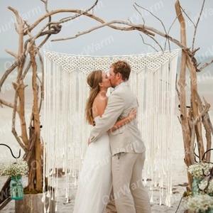 Image 2 - OurWarm Bohoงานแต่งงานตกแต่งMacrameงานแต่งงานฉากหลัง 100X115 ซม.ผ้าฝ้ายเชือกPhoto BoothฉากหลังMacrameแขวนผนัง